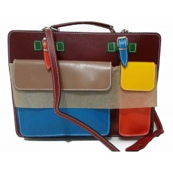 Multicolor Genuine Leather...